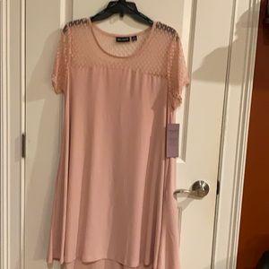 Nina Leonard Swing Dress in Blush